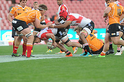 Johannesburg 08-09-18 2nd half. Lions James Venter is assisted by captian Marvin Orie (capt). Rugby Currie Cup match between the Xerox Golden Lions vs Toyota Free State Cheetahs at Emirates Airline Park. Picture: Karen Sandison/African News Agency(ANA)