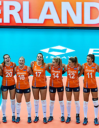 07-10-2018 JPN: World Championship Volleyball Women day 8, Nagoya<br /> Netherlands - Puerto Rico 3-0 /Tessa Polder #20 of Netherlands, Marrit Jasper #18 of Netherlands, Nicole Oude Luttikhuis #17 of Netherlands, Laura Dijkema #14 of Netherlands, Britt Bongaerts #12 of Netherlands, Anne Buijs #11 of Netherlands