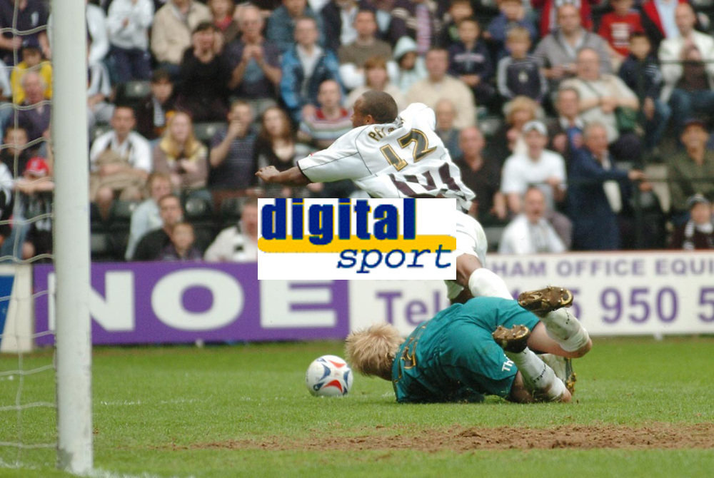 Photo: Leigh Quinnell.<br /> Notts County v Bury. Coca Cola League 2. 06/05/2006.<br /> Bury keeper Kasper Schmeichel brings down Notts Countys  Chris Palmer to earn a penalty that would keep them in the football league.