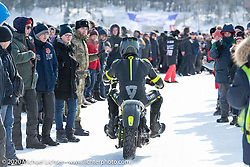 Oleg Goryunov riding his Indian Scout ice racer at the Baikal Mile Ice Speed Festival. Maksimiha, Siberia, Russia. Saturday, February 29, 2020. Photography ©2020 Michael Lichter.