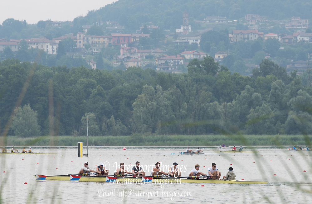 Varese. ITALY.  The New Look, USA M8+ training session 2015 FISA World Cup II Venue Lake Varese. Thursday  18/06/2015 [Mandatory Credit: Peter Spurrier/Intersport-images.com]