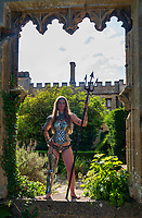 Models wearing armour by Master Armourier Terry English famous for working on films such as Excalabur , Aliens ,and Gladiator, shows off some of his collection at Fanatsy Forest Festival Sudeley Castle, Cheltenham  Photo by Mark Anton Smith