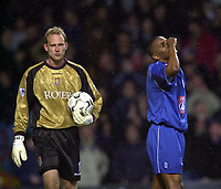 Photo. Richard Lane. <br />Aston Villa v Birmingham City. Barclaycard Premiership. 03/03/2003<br />Clinton Morrison shows his disappointment after going close to goal as Peter Enkelman collect the ball.