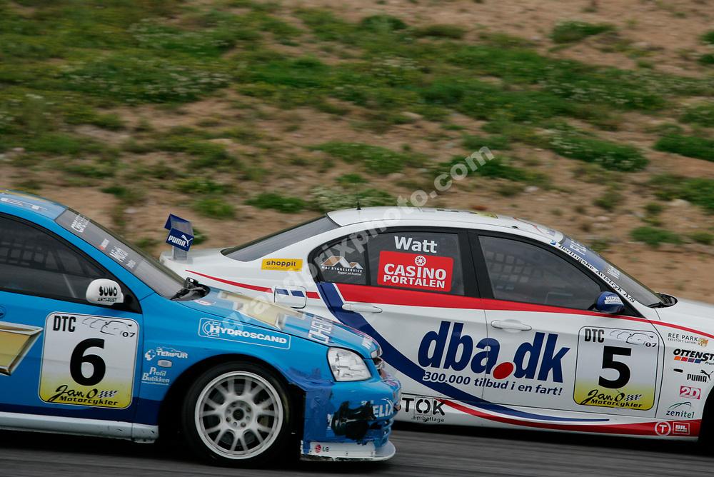 Jason Watt (Team Den Bla Avis BMW) and Pontus Morth (Chevrolet) in the 2007 DTC race at Sturup Raceway. Photo: Grand Prix Photo