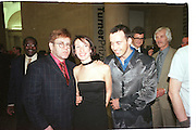 Elton John, Sam Taylor-Wood and david furnish. Turner prize private view. 27 October 1998.  Tate Gallery. © Copyright Photograph by Dafydd Jones 66 Stockwell Park Rd. London SW9 0DA Tel 020 7733 0108 www.dafjones.com