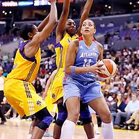 08 August 2014: Los Angeles Sparks forward Nneka Ogwumike (30) defends on Atlanta Dream center Erika de Souza (14) during the Los Angeles Sparks 80-77 overtime win over the Atlanta Dream, at the Staples Center, Los Angeles, California, USA.
