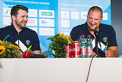 Luka Doncic and Matej Erjavec during press conference at arrival of Slovenian national team from Tokio 2020 Olympic games, 8. August 2021, Airport Jozeta Pucnika, Ljubljana, Slovenia. Photo by Grega Valancic