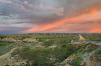 Clearing storm at sunrise over badlands, Theodore Rossevelt National Park, North Dakota