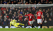 Zlatan Ibrahimovic of Manchester United equalises past Joel Robles of Everton from the penalty spot during the English Premier League match at Old Trafford Stadium, Manchester. Picture date: April 4th 2017. Pic credit should read: Simon Bellis/Sportimage