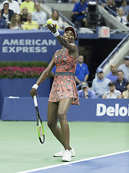September 5, 2017 - New York, New York, United States - Venus Williams of USA serves during match against Petra Kvitova of Czech Republic at US Open Championships at Billie Jean King National Tennis Center  (Credit Image: © Lev Radin/Pacific Press via ZUMA Wire)