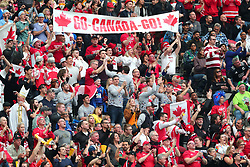 March 9, 2019 - Vancouver, BC, U.S. - VANCOUVER, BC - MARCH 09:  Canadian fans cheer on Team Canada as they play Team Fiji during day 1 of the 2019 Canada Sevens Rugby Tournament on March 9, 2019 at BC Place in Vancouver, British Columbia, Canada. (Photo by Devin Manky/Icon Sportswire) (Credit Image: © Devin Manky/Icon SMI via ZUMA Press)