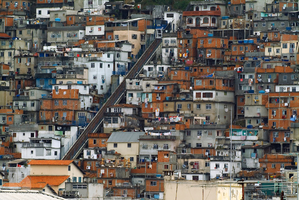 The favelas of Cantagalo are in sharp contrast with the expanse of luxury hotels located in nearby Copacabana