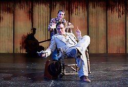 To Kill a Mockingbird <br /> by Harper Lee <br /> at The Barbican Theatre, London, Great Britain <br /> rehearsal <br /> 25th June 2015 <br /> <br /> Ava Potter as Scout <br /> <br /> Robert Sean Leonard as Atticus Finch<br /> <br /> <br /> Photograph by Elliott Franks <br /> Image licensed to Elliott Franks Photography Services