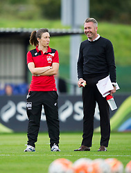 Willie Kirk manager of Bristol City Women and Corinne Yorston defender for Bristol City Women look on during warm-up - Mandatory by-line: Paul Knight/JMP - 24/09/2016 - FOOTBALL - Stoke Gifford Stadium - Bristol, England - Bristol City Women v Durham Ladies - FA Women's Super League 2