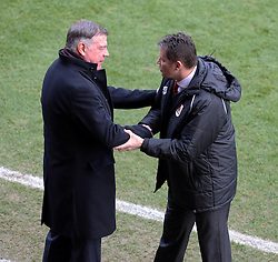 Bristol City manager, Steve Cotterill  and West Ham Manager, Sam Allardyce - Photo mandatory by-line: Alex James/JMP - Mobile: 07966 386802 - 25/01/2015 - SPORT - Football - Bristol - Ashton Gate - Bristol City v West Ham United - FA Cup Fourth Round