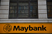 Sign for Maybank in the City of London. Maybank, a trade name for Malayan Banking Berhad is the largest bank and financial group in Malaysia, with significant banking operations in Singapore, Indonesia and the Philippines.