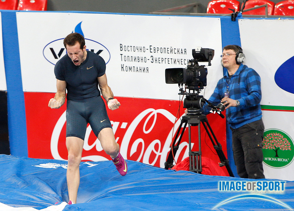 Feb 15, 2014; Donetsk, Ukraine; Renaud Lavillenie (FRA) celebrates after setting a world record of 20-2 1/2 (6.16m) in the Pole Vault Stars meeting at the Druzhba Palace of Sports. The mark broke the 1993 record of 20-2 (6.15m) held by Sergey Bubka (not pictured). Photo by Valeriy Bilokryl