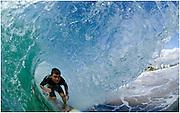 Coolangatta, Gold Coast, April 29: Mitch Parkinson in the barrel at Snapper Rocks on the Gold Coast, Queensland, Australia on 29th April 2011. Photo by Matt Roberts