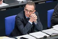 08 NOV 2018, BERLIN/GERMANY:<br /> Heiko Maas, MdB. SPD, Bundesaussenminister, Bundestagsdebatte zum sog. Global Compact fuer Migration, Plenum, Deutscher Bundestag<br /> IMAGE: 20181108-01-058<br /> KEYWORDS: Sitzung