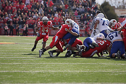 17 October 2009:  Michael Zimmer sticks Antoine Brown. The Indiana State Sycamores tumble to the Illinois State Redbirds 38-21 at Hancock Stadium on campus of Illinois State University in Normal Illinois