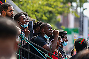 A number of British-African speakers address to the crowd of anti-police brutality protestors carrying banners, placards and flags in front of Tottenham Police Station in North London on Saturday, Aug 8, 2020. <br /> Black Lives Matter enters the 11th weekend of continuous demonstrations against racial injustice in Britain. <br /> Anger against systemic levels of institutional racism have raged and continued throughout the United States, Britain and worldwide; sparked by the death of George Floyd who died on May 25 after he was restrained by Minneapolis police in the United States. (VXP Photo/ Vudi Xhymshiti)