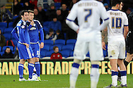 Cardiff City's Peter Whittingham (l) and Anthony Pilkington talk as they line up a free kick. Skybet football league championship match, Cardiff city v Leeds Utd at the Cardiff city stadium in Cardiff, South Wales on Tuesday 8th March 2016.<br /> pic by Carl Robertson, Andrew Orchard sports photography.