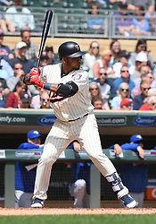 May 2, 2018 - Minneapolis, MN, U.S. - MINNEAPOLIS, MN - MAY 02: Minnesota Twins Infield Gregorio Petit (40) at the plate during a MLB game between the Minnesota Twins and Toronto Blue Jays on May 2, 2018 at Target Field in Minneapolis, MN.The Twins defeated the Blue Jays 4-0.(Photo by Nick Wosika/Icon Sportswire) (Credit Image: © Nick Wosika/Icon SMI via ZUMA Press)