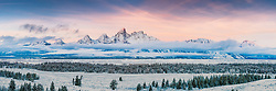 Winter Sunrise Panorama, Teton Range, Grand Teton National Park, Jackson Hole, Wyoming.<br /> <br /> This is a huge file and can be printed at 10 foot wide at 162-dpi.   Order panoramas directly from me.