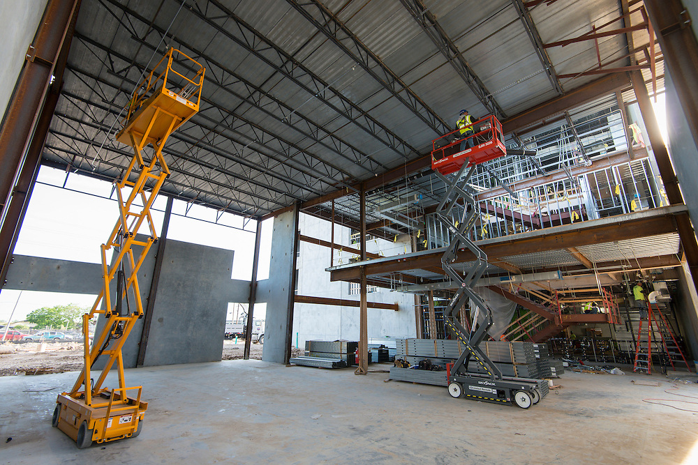 Construction at Milby High School, April 7, 2016.