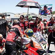 Jun 23  2018  Monterey, CA, U.S.A  # 7 Chaz Davies on the grid during the Motul FIM World Superbike Race # 1 at Weathertech Raceway Laguna Seca  Monterey, CA  Thurman James / CSM