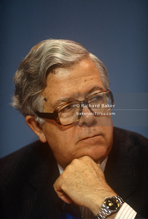 Deputy Prime Minister of the United Kingdom and Conservative MP, Geoffrey Howe at the Conservative party conference on 11th October 1990 in Blackpool, England.  His resignation on 1 November 1990 is widely considered by the British press to have precipitated Prime Minister Margaret Thatcher's own resignation three weeks later, resulting in the end of her 11 year political career.