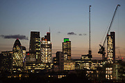 The City of London, also known as the Square Mile at sunset 20th November 2015. It has its own police force and and local government - the City of London Corporation. Most major UK based banks and insurance groups have their HQ in the City and an ever increasing number of sky scrapers are built to accommodate an increasing number of businesses based in there.
