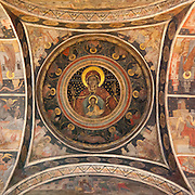 Fresco on interior dome. Stavropoleos Monastery (Romanian: Mănăstirea Stavropoleos), also known as Stavropoleos Church (Romanian: Biserica Stavropoleos) during the last century when the monastery was dissolved, is an Eastern Orthodox monastery for nuns in central Bucharest, Romania. Its church is built in Brâncovenesc style 1724