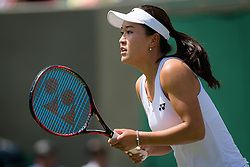 July 1, 2019 - London, GREAT BRITAIN - Lin Zhu of China in action during the first round of the 2019 Wimbledon Championships Grand Slam Tennis Tournament against Karolina Pliskova of the Czech Republic (Credit Image: © AFP7 via ZUMA Wire)