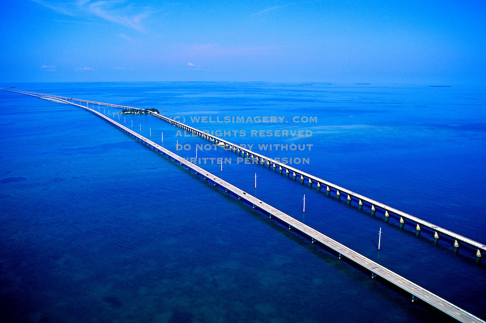 Aerial Image of the Seven-Mile Bridge in the Florida Keys, American Southeast by Randy Wells