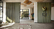 abandoned building, large room with windows
