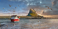BY THE SEA - Lindisfarne Castle - photo art pictures by Paul Williams of the picturesque Lindisfarne castle and harbour on the romantic Holy Island, Northumberland England
