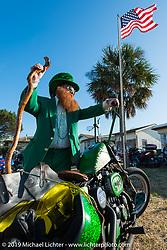 Pete Rosati of Daytona Beach, FL is head to toe ready for Saint Patricks Day with a lot of Blarney and his 1977 Iron Head Harley-Davidson Sportster. Daytona Bike Week. FL, USA. March 15, 2014.  Photography ©2014 Michael Lichter.