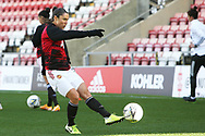 Manchester United forward Jane Ross (19) warming up during the FA Women's Super League match between Manchester United Women and Brighton and Hove Albion Women at Leigh Sports Village, Leigh, United Kingdom on 4 October 2020.