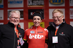 Marta Bastianelli (ITA) leads the Lotto Cycling Cup General Classification at Le Samyn des Dames 2019, a 101 km road race from Quaregnon to Dour, Belgium on March 5, 2019. Photo by Sean Robinson/velofocus.com