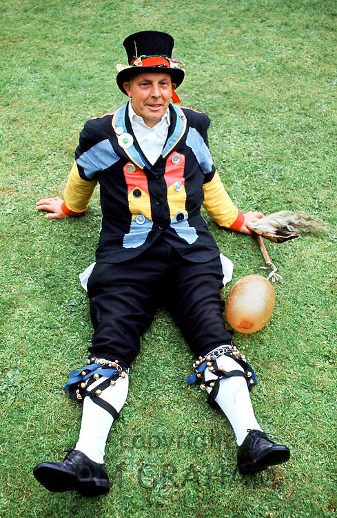 Traditional English Morris Man dressed as The Fool at a Morris dancing festival in Cambridge, UK