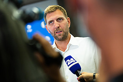 Dirk Nowitzki during Dallas Mavericks Press Conference to formalise the deal with Luka Doncic, 10 August, 2021, Intercontinental Hotel, Ljubljana, Slovenia. Photo by Grega Valancic