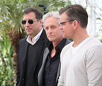 Producer Jerry Weintraub and actors Michael Douglas and Matt Damon at the 'Behind The Candelabra' film photocall at the Cannes Film Festival  Tuesday 21 May 2013