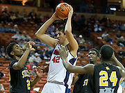 Alfredo Rodriguez (42) of El Paso Harmony Science Academy grabs a rebound against Dallas Triple A Academy during the UIL Conference 1A semifinals at the Frank Erwin Center in Austin on Thursday, March 7, 2013. (Cooper Neill/The Dallas Morning News)