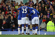 Arouna Kone of Everton (9) celebrates with his teammates after scoring his teams 1st goal.The Emirates FA cup, 3rd round match, Everton v Dagenham & Redbridge at Goodison Park in Liverpool on Saturday 9th January 2016.<br /> pic by Chris Stading, Andrew Orchard sports photography.