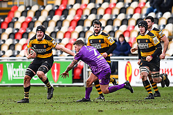 Newport's Alex Everett evades the tackle of Ebbw Vale's Ronny Kynes - Mandatory by-line: Craig Thomas/Replay images - 04/02/2018 - RUGBY - Rodney Parade - Newport, Wales - Newport v Ebbw Vale - Principality Premiership