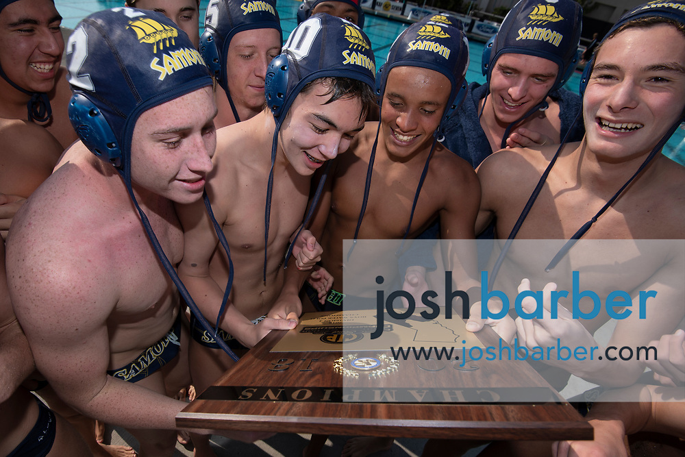 during the CIF-SS Division 4 boys water polo Final at William Woollett Jr. Aquatic Center on Saturday, November 10, 2018 in Irvine, Calif. (Photo by Josh Barber, Contributing Photographer)