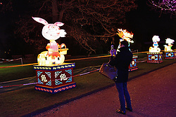 © Licensed to London News Pictures. 03/02/2016. London, UK. A visitor take a camera phone photos of a light installation from the UK Premier of the world famous Magical Lantern Festival comes to Chiswick House. The festival is a spectacular artistic installation of beautifully sculpted lanterns taking various forms from animals and birds to buildings and abstract lantern designs of all shapes and sizes. Photo credit: Ray Tang/LNP