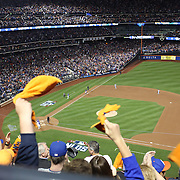 Mets fans celebrate a Yoenis Cespedes three run home run as he rounds the bases during the New York Mets Vs Los Angeles Dodgers, game three of the NL Division Series at Citi Field, Queens, New York. USA. 12th October 2015. Photo Tim Clayton for The Players Tribune