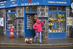 Newsagent shop wind and rain Dolgellau mid Wales
